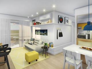 Estudo para apartamento na Barra da Tijuca: Salas de estar  por JS Interiores,Moderno