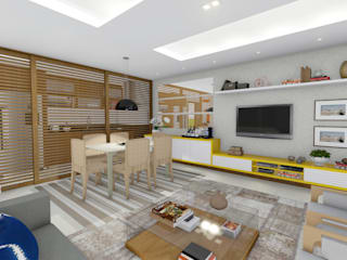 Estudo Casa Itaipu: Salas de estar  por JS Interiores,Moderno