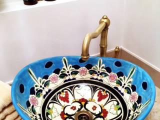 Ovales Mexikanisches Waschbecken Tulum im Ethno-Stil in Blau-Türkis:   von Mexambiente e.K.