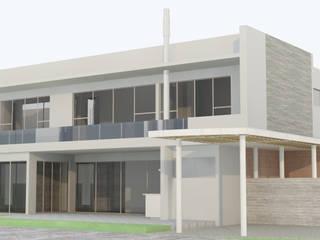 FACHADA SUR ORIENTE: Casas de estilo  por HERNANDEZ ARQUITECTOS