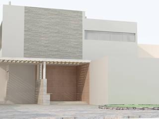 FACHADA ORIENTE : Casas de estilo  por HERNANDEZ ARQUITECTOS