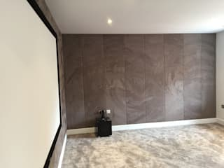 Cinema Room with bespoke suede fabric walls Designer Vision and Sound Media room