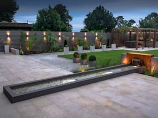 A contemporary industrial garden Robert Hughes Garden Design Garden Lighting