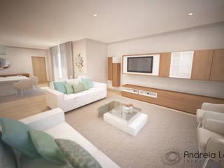 Clean and soft room: Salas de estar  por Andreia Louraço - Designer de Interiores (Contacto: atelier.andreialouraco@gmail.com)