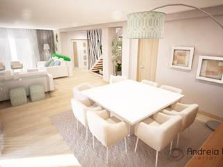 Clean and soft room: Salas de jantar  por Andreia Louraço - Designer de Interiores (Contacto: atelier.andreialouraco@gmail.com)