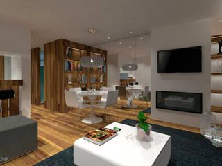 Apartamento T0 - São Pedro de Moel: Salas de estar modernas por OFICINA - COLECTIVO DE IDEIAS, LDA