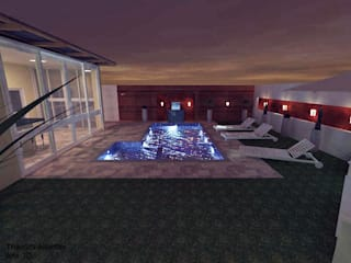 Projeto para área de lazer e jardim nos fundos da residência : Jardins  por Thamiris Albertini Arquitetura e Interiores
