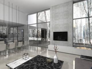 Dom na skraju Lasu: styl , w kategorii Salon zaprojektowany przez JSK STUDIO