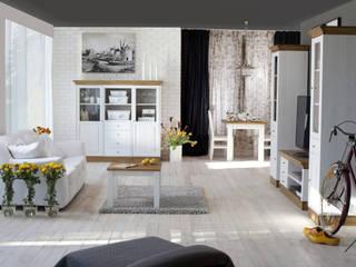 Salon w stylu retro - kolekcja Roma by Woodica Minimalistyczny salon od Woodica Minimalistyczny