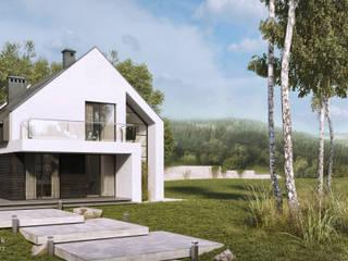 Dom jednorodzinny w okolicy Nysy (woj. opolskie): styl nowoczesne, w kategorii Domy zaprojektowany przez architekt SZYMON PLESZCZAK - ARCHI PL PRACOWNIA ARCHITEKTURY I WNĘTRZ