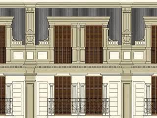 Rehabilitación integral realizada por nuestro Estudio de Arquitectura de fachada y sustitución de voladizos en un edificio de carácter monumental en Barcelona:  de estilo  de Estudio Arquitectura Ricardo Pérez Asin