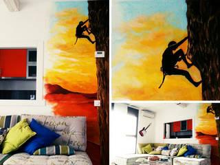 Mural para salón con temática de escalada de Trestepintan Moderno