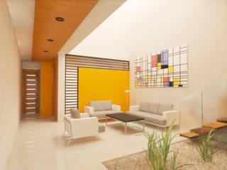 SALA DOBLE ALTURA: Salas de estilo  por DLR ARQUITECTURA/ DLR DISEÑO EN MADERA