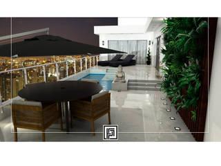 Cobertura no Lourdes Varandas, alpendres e terraços modernos por Priscilla Fóscolo Arquitetura + Design Moderno