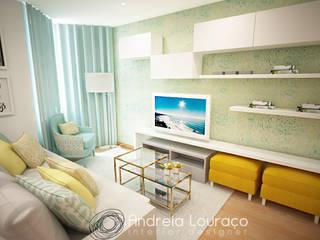 """Projecto de Decoração Sala """"COLOR MIRRORS"""": Salas de estar  por Andreia Louraço - Designer de Interiores (Contacto: atelier.andreialouraco@gmail.com)"""