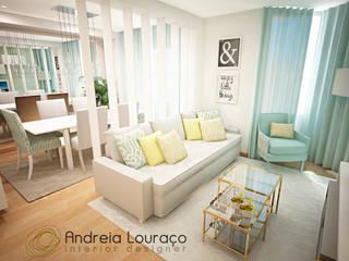 """Projecto de Decoração """"COLOR MIRRORS"""": Salas de estar  por Andreia Louraço - Designer de Interiores (Contacto: atelier.andreialouraco@gmail.com)"""