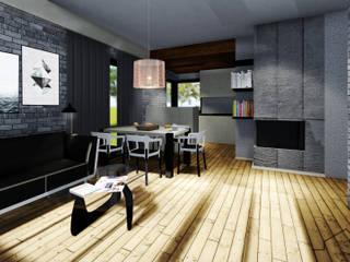 Wnętrze salonu z aneksem kuchennym: styl , w kategorii Salon zaprojektowany przez arch-point