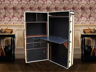 MadeToOrder - Unique DESK BOOKCASE CABINET Vintage style Luxury Furniture Wardrobe Office Steamer Trunk Storage: Fitzgerald:   by AM Florence