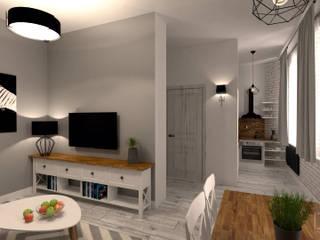 Mieszkanie w stylu Skandynawskim: styl , w kategorii Salon zaprojektowany przez BMP Studio Architektoniczne