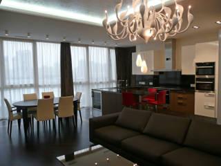 Квартира на Мичуринском проспекте Гостиная в стиле модерн от АрхХаусСтрой Модерн