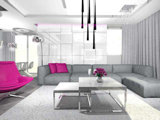 dom - łódź Minimalistyczny salon od Room19 -studio projektowania wnętrz Minimalistyczny