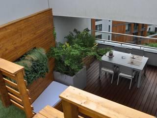 Piętrowy taras w Wilanowie: styl , w kategorii Ogród zaprojektowany przez Fabryka-ogrodów s.c.