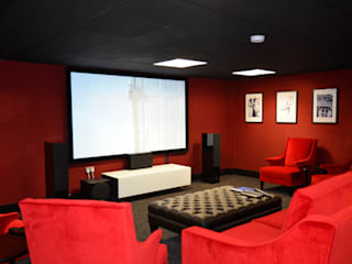Basement Cinema Room HiFi Cinema Ltd. Modern media room Red