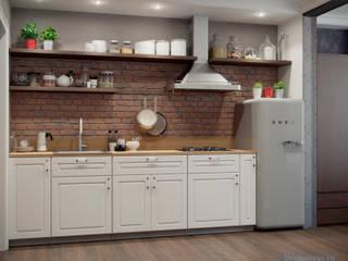 Дизайн-проект для квартиры-студии 30 кв. м в современном стиле: Кухни в . Автор – Студия интерьера Дениса Серова