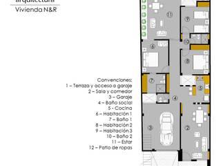 "VIVIENDA ""N&R"": Casas de estilo  por TALLER 9, ARQUITECTURA"