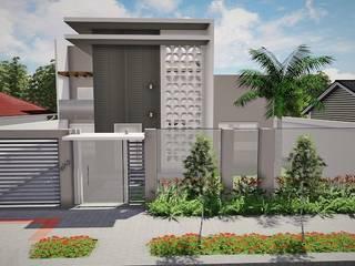 Muro - Portão de Entada da Residência BS: Casas  por Ivonete Teixeira Arquitetura