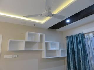 wall shelves for books in living room Modern living room by Bluebell Interiors Modern MDF