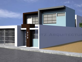 Fachada Lateral 2: Casas de estilo  por Lentz Arquitectura Diseño y Construcción