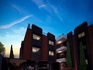 LATEREM BRICK FLATS: Garajes de estilo  por Del Castillo Arquitectos