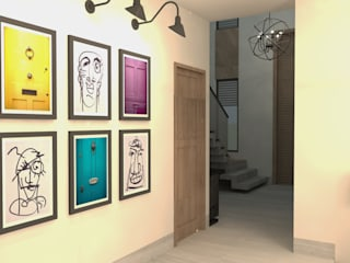 CH Modern Corridor, Hallway and Staircase by TAMEN arquitectura Modern