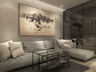 Projekt wnętrz mieszkania Minimalistyczny salon od CUDO - grupa projektowa Minimalistyczny