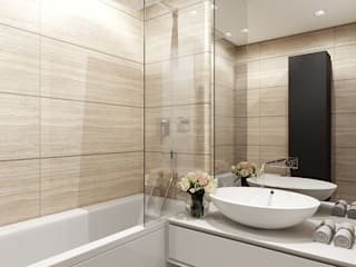 Интерьер квартиры на ул. Рогожский Вал Kerimov Architects Ванная комната в стиле модерн