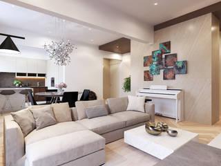 Интерьер квартиры на ул. Рогожский Вал Kerimov Architects Гостиная в стиле модерн
