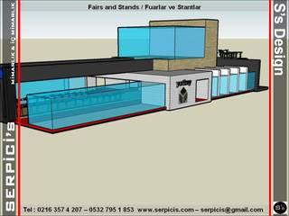 SERPİCİ's Mimarlık ve İç Mimarlık Architecture and INTERIOR DESIGN Sedi per eventi moderne Legno Blu