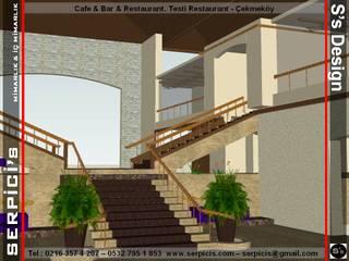 SERPİCİ's Mimarlık ve İç Mimarlık Architecture and INTERIOR DESIGN Gastronomia in stile tropicale Legno composito Ambra/Oro
