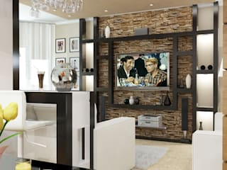 Квартира - гостиная и кухня: Гостиная в . Автор – Первое Дизайн-Бюро,