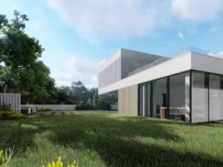 Elewacja ogrodowa: styl minimalistyczne, w kategorii Domy zaprojektowany przez 2L_studio