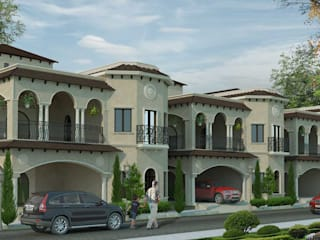 Villa Architecture Design-Spanish Style Twin Houses:  Houses by DLEA