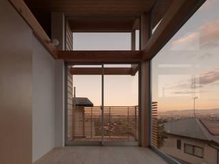 展望台の家: ろく設計室が手掛けたテラス・ベランダです。