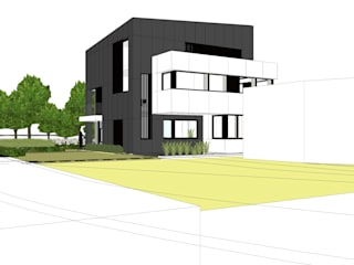 Verbouwing: appartementen + bureauruimte Moderne huizen van AVENIRarchitecten bvba Modern