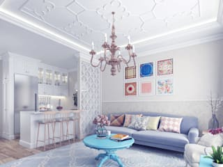 Provence Style Apartment. Istanbul 2016:  Living room by Ammar Bako design studio