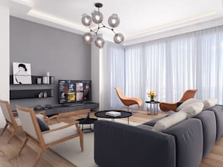 Modern apartment - Istanbul 2016:  Living room by Ammar Bako design studio