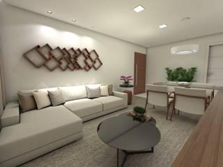 Apartamento Buritis: Salas de estar  por Nayla Diniz Arquitetura,Moderno