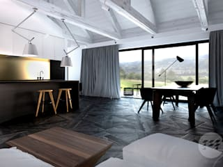 Projekt domu - rewitalizacja istniejącego domu z kamienia.: styl , w kategorii Salon zaprojektowany przez 365 Stopni