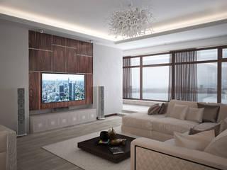 Современная квартира с элементами ар-деко Гостиные в эклектичном стиле от премиум интериум Эклектичный