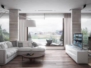 Дом у большой воды Гостиная в стиле минимализм от премиум интериум Минимализм